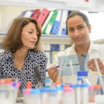 Sima Lev and Nandini Verma in the laboratory
